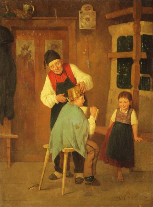 RICHARD EISERMANN (1853 Oppershausen/Thüringen - 1927 Krailling bei München) - Der neue Haarschnitt, Öl/Holz, 51 x 41 cm, signiert und datiert, 1876 Mindestpreis: 490 EUR