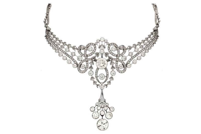 Gargantilla Belle Époque de diamantes (hacia 1910)