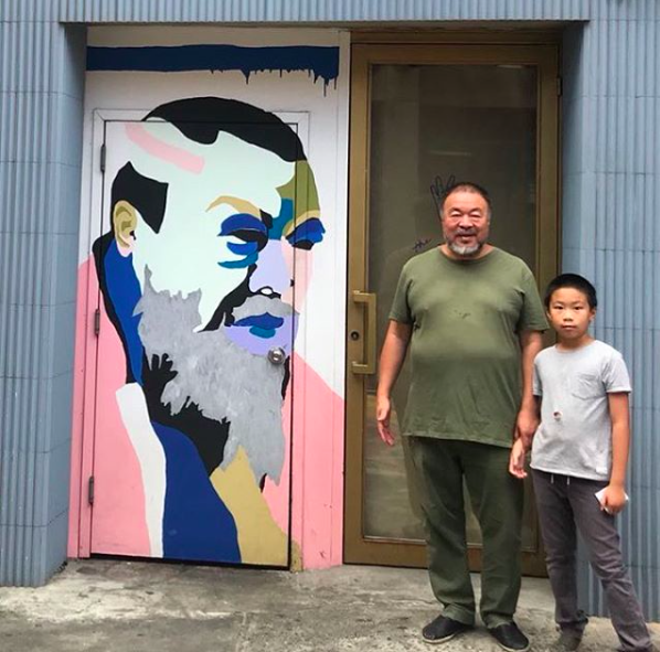 Ai Weiwei with his son. Image: Instagram @aiww