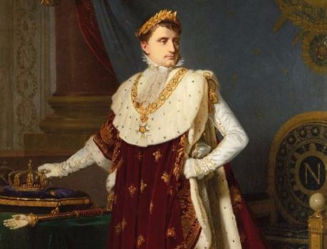 Détail. Michel Martin Drolling (Paris 1789-1851) Ecole Française du XIXème siècle «Portrait Officiel de l'Empereur Napoléon Ier, en grand costume de sacre.»