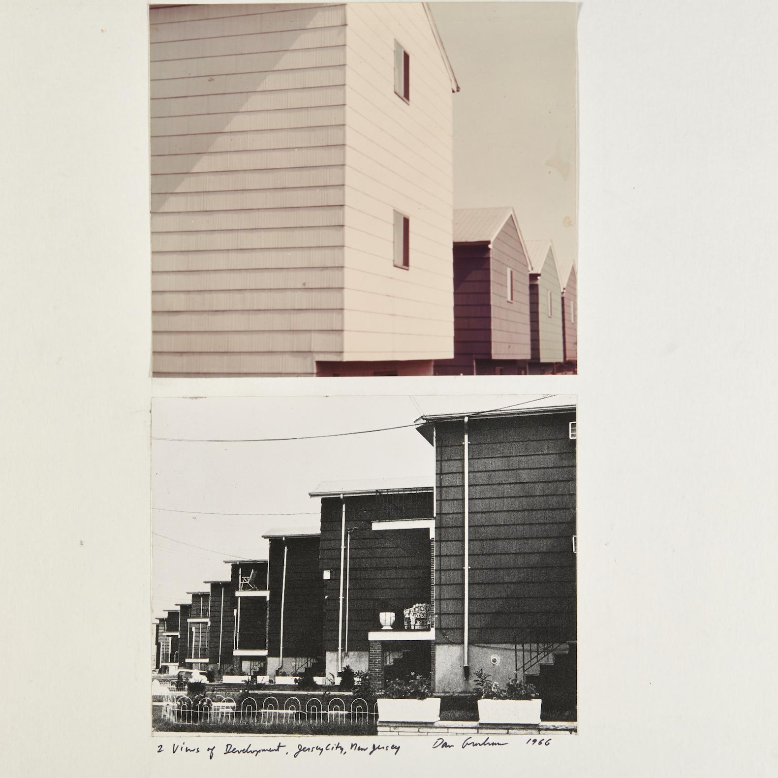 2 Views of Development, Dan Graham. 1966, chromogenic prints mounted on board.
