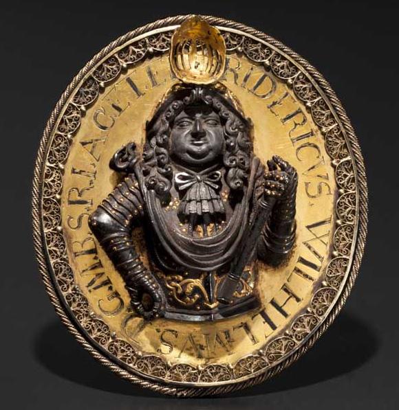 Guld- och järnpläderad medaljong till storkungfursten Friedrich Wilhelm Brandenburg's ära (1677) Utropspris: 74 100 SEK Hermann Historica