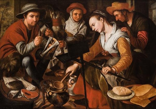 """Joachim Beuckelaer (Antwerpen 1530 - 1573 Antwerpen), """"Scen ur det flamländska köket"""" (fritt översatt)."""