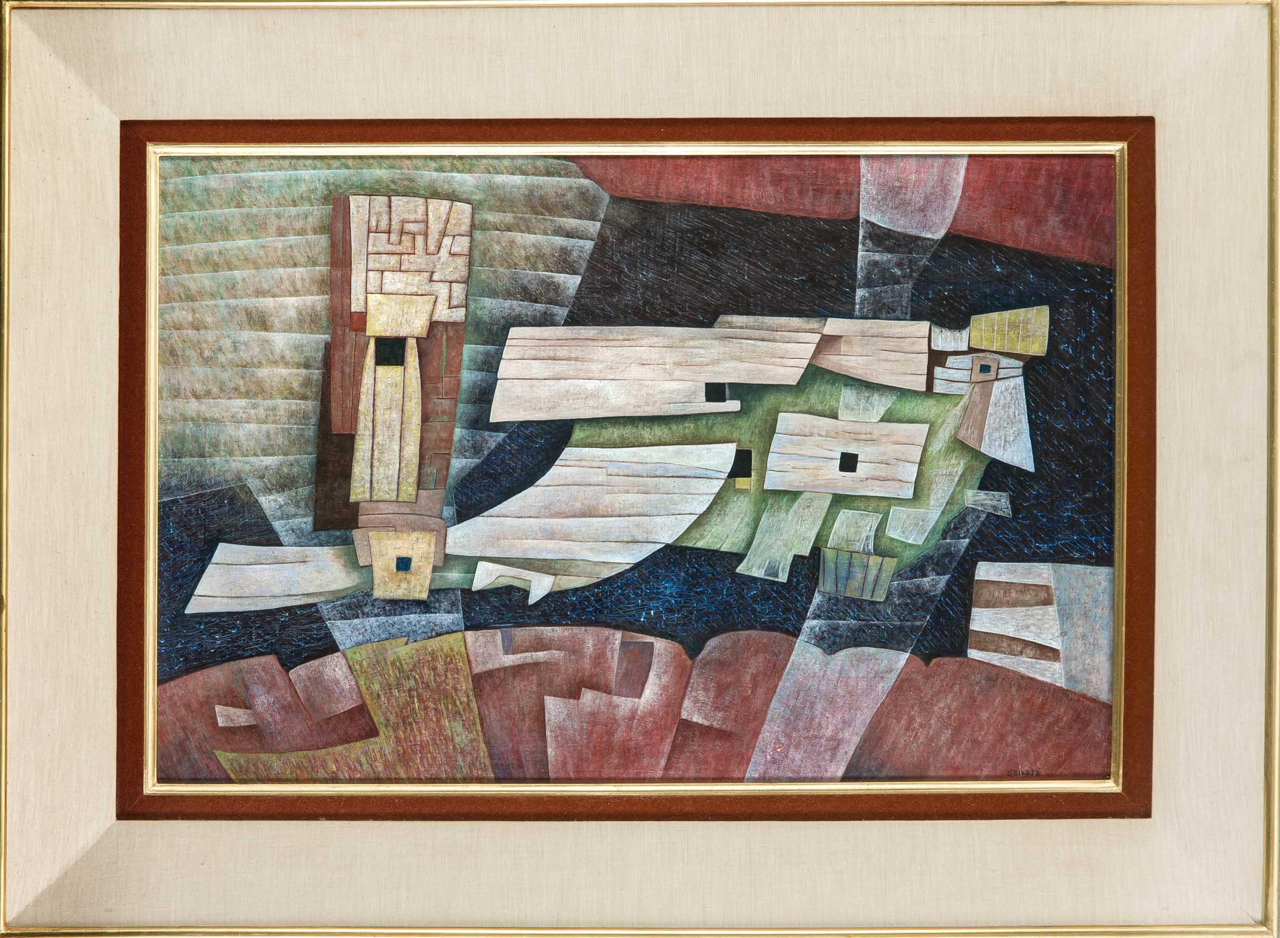 GUNTHER GERZSO WENDLAND (1915-2000) - Abstrakte Komposition, Öl/Hartfaser, signiert
