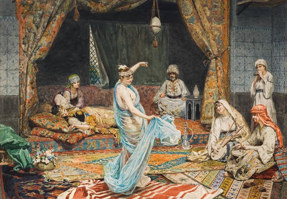 GIUSEPPE RIVA (Ivrea 1834-1916 ebenda) - Orientalische Tänzerin, Aquarell/Papier, 49 x 68 cm, signiert Schätzpreis: 20.000-40.000 EUR
