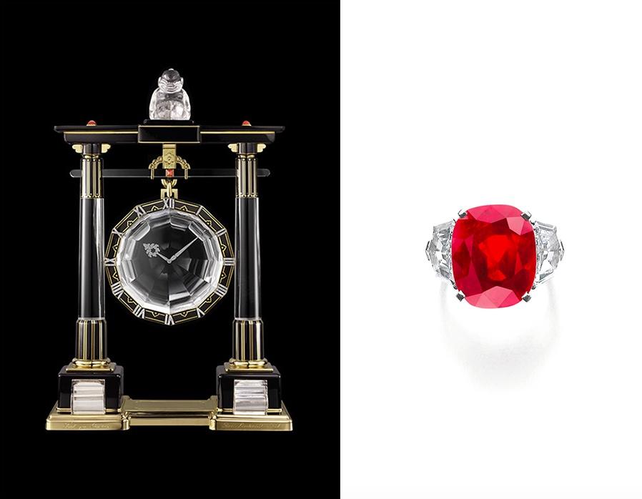 Links: Herausragende Mystery Clock von Cartier Paris (1923) | Foto: © Cartier  Rechts: Rekordpreis für einen Rubin - Dieser Ring von Cartier erzielte 2015 28 Millionen CHF | Foto: © Sotheby's