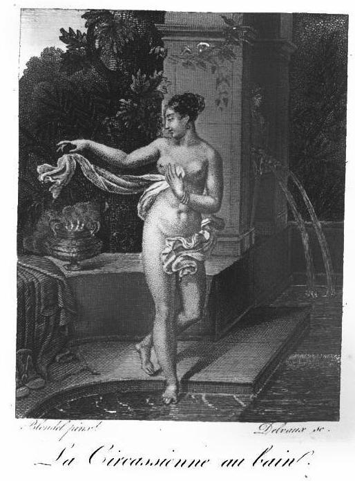 An illustration of the painting which appeared in the publication Almanach des Dames in 1823. Image: Wiki Commons