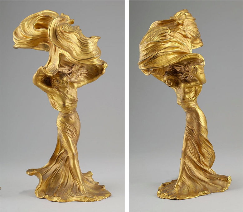 """RAOUL FRANÇOIS LARCHE (1860 Saint-André-de-Cubzac - 1912 Paris) - Tischlampe """"Loie Fuller"""", vergoldete Bronze, signiert"""