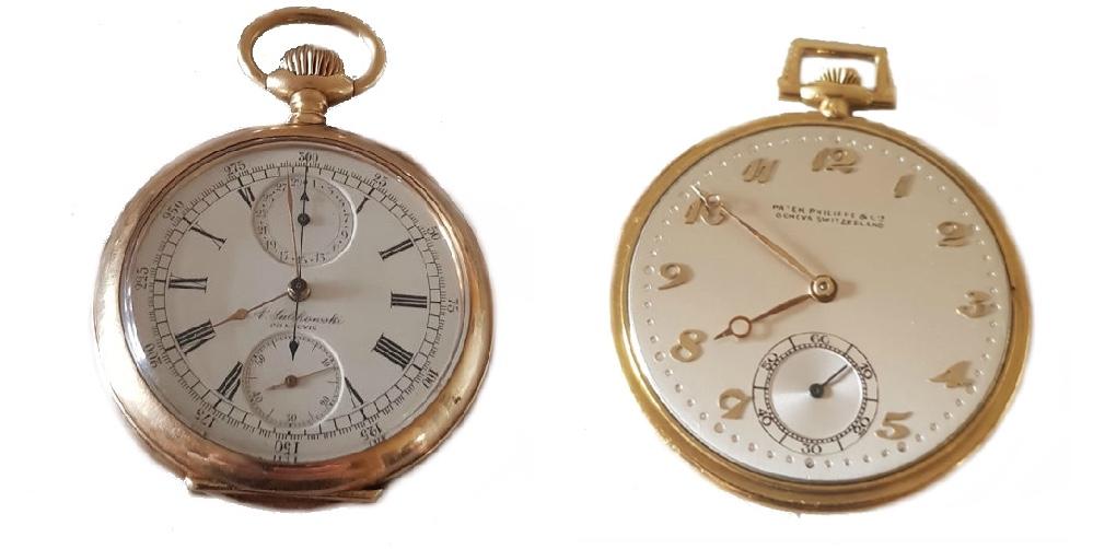 Links: OMEGA - Lepine Chronograph aus Gelbgold, Schweiz 1900 Rechts: PATEK PHILIPPE & CIE - Lepine aus Gelb- und Weißgold, Schweiz um 1910
