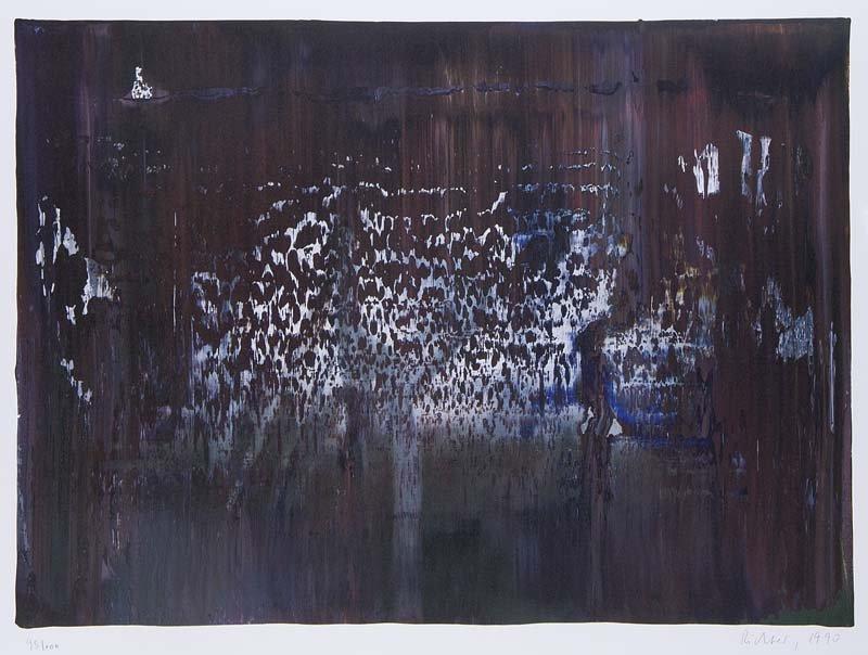 GERHARD RICHTER - Abstraktes Bild, Farboffsetlithographie auf leichtem Karton, 42 x 58 cm, nummeriert, signiert und datiert, 1990 Startpreis: 5.000-10.000 EUR