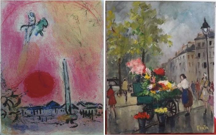 Links: nach MARC CHAGALL (1887-1958) - La Place de la Concorde, Lithografie, signiert Rechts: ROBERT FONATAINE alias FONTA (1922-1976) - Paris Marché aux fleurs St Germain des près, Öl/Lwd., signiert, um 1950