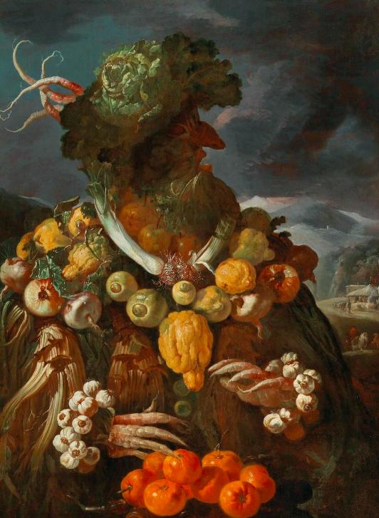 Giovanni Paolo Castelli, dit Lo Spadino Allégorie anthropomorphique de l'hiver