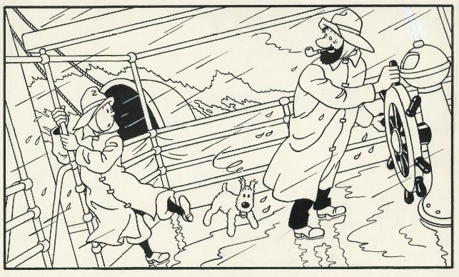HERGÉ, Tintin L'Étoile Mystérieuse Illustration réalisée pour un album à colorier édité en 1947, Encre de Chine sur papier Christie's