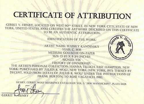 L'un des faux certificats émis par Eric Spoutz © artfakes.dk 2005