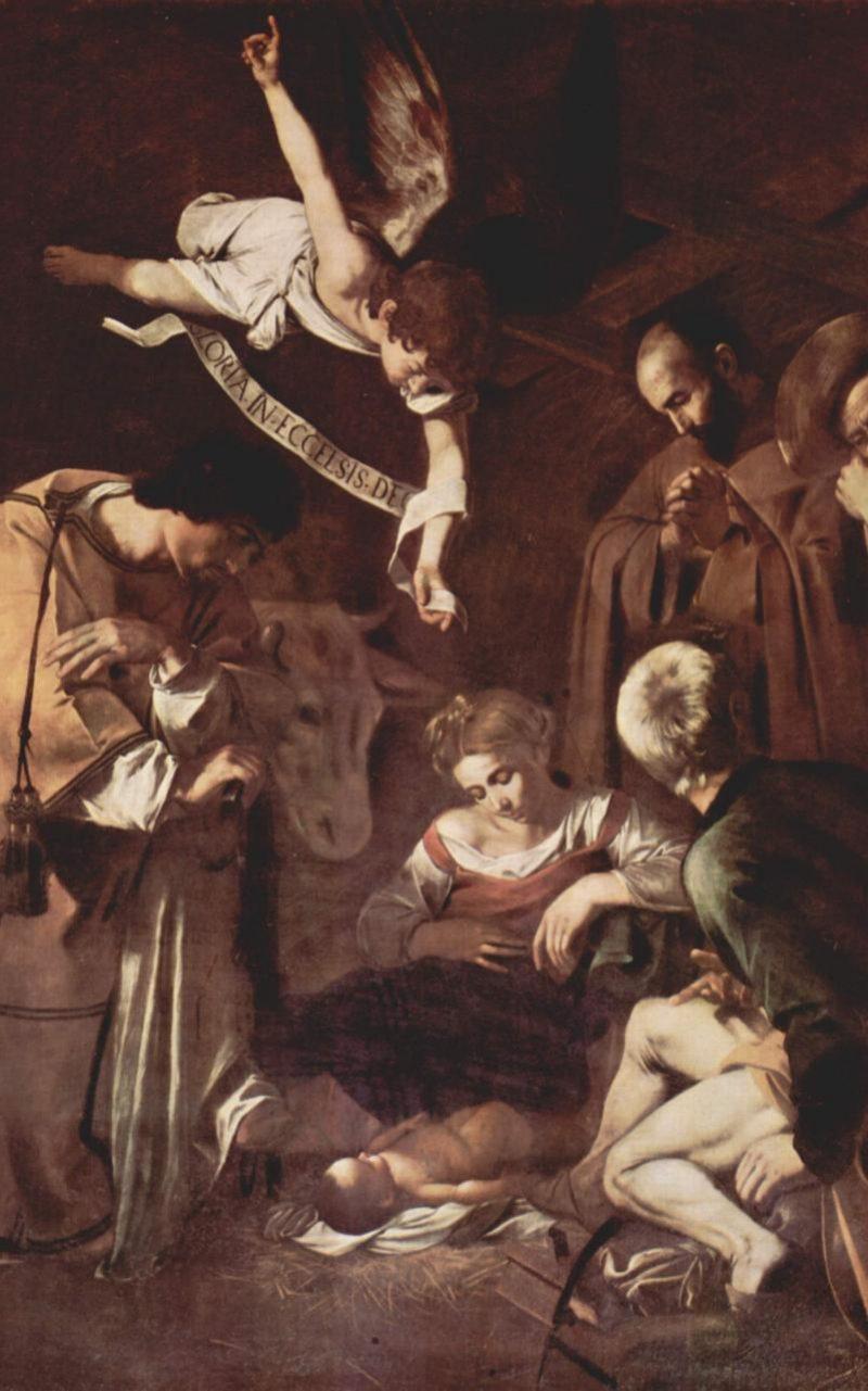 Caravaggio, Jungfrufödsel med Sankt Fransciskus och Sankt Lars (fritt översatt), cirka 1609.