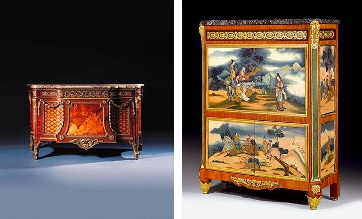 Gauche: JH Riesener, commode, 1778, image ©Christie's / Droite : N. Petit, secrétaire «à abattant» à 1775-1780, image ©Koller