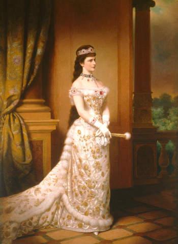 Kaiserin Elisabeth von Österreich (1837-1898) mit ihrem Rubinschmuck, Portrait anlässlich ihrer Silbernen Hochzeit am 24. April 1879 Abb. via sissi.de