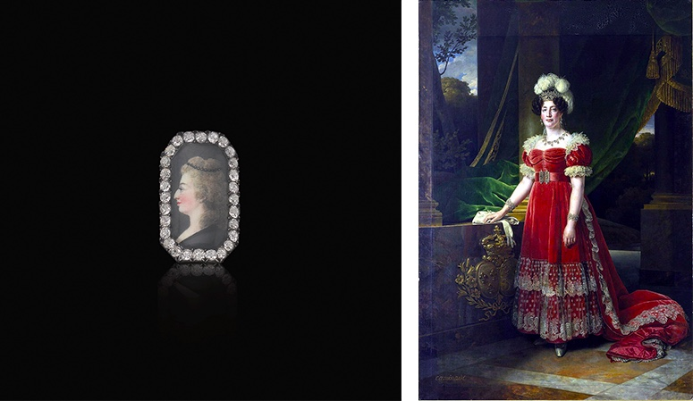 Links: Diamantring mit dem Portrait Marie Antoinettes. Erzielter Preis: 250.000 CHF (Foto: ©Sotheby's) Rechts: Alexandre-François Caminade, Marie-Thérèse von Frankreich, 1827