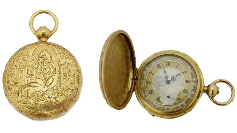 Fickur i 18 karats guld. Vackert dekorerad. Troligtvis Frankrike 1870.