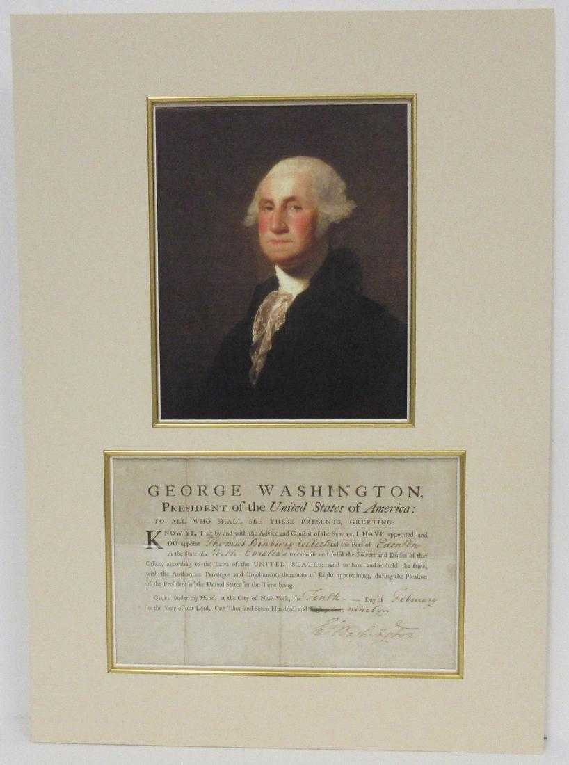 George Washington document, signed as President, dated Feb. 10, 1790, in which he appoints a port collector for North Carolina, matted, with a portrait of Washington (est. $18,000-$20,000).