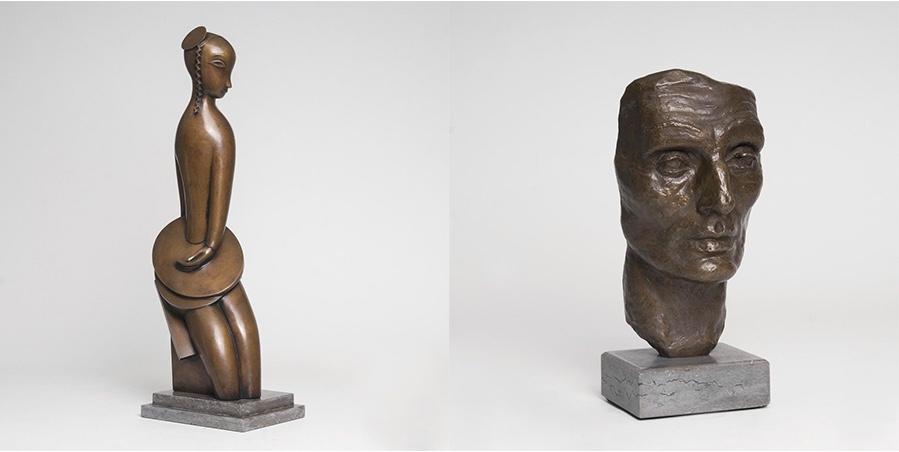 Links: JEAN LAMBERT-RUCKI (1911 Krakau - 1967 Paris) - Femme aux disques, Bronze, 1930/1980 Rechts: RENÉE de SINTENIS (1888 Glaz/Schlesien - 1965 Berlin) - Selbstbildnis - Deutschland nach dem Kriege, Bronze, 1944, späterer Guss