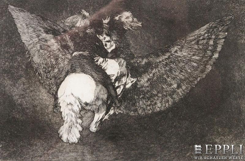 "Francisco de Goya, ""Disparate Volante, 1824. Pris: ca 12 500 SEK. Till salu hos Eppli"