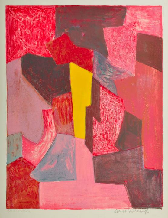 Serge Poliakoff (1900-1969) Composition rouge, carmin et jaune,1958 Lithographie signée, épreuve d'artiste, imp.Pons, Paris, édition L'œuvre gravée, 75x56cm, no 19 du catalogue raisonné