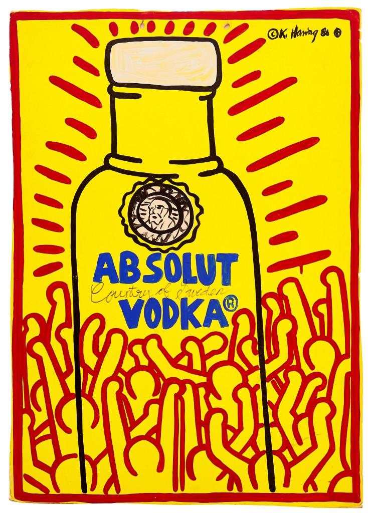 Keith Haring, Absolut Vodka, 1986, image ©Uppsala Auktionskammare