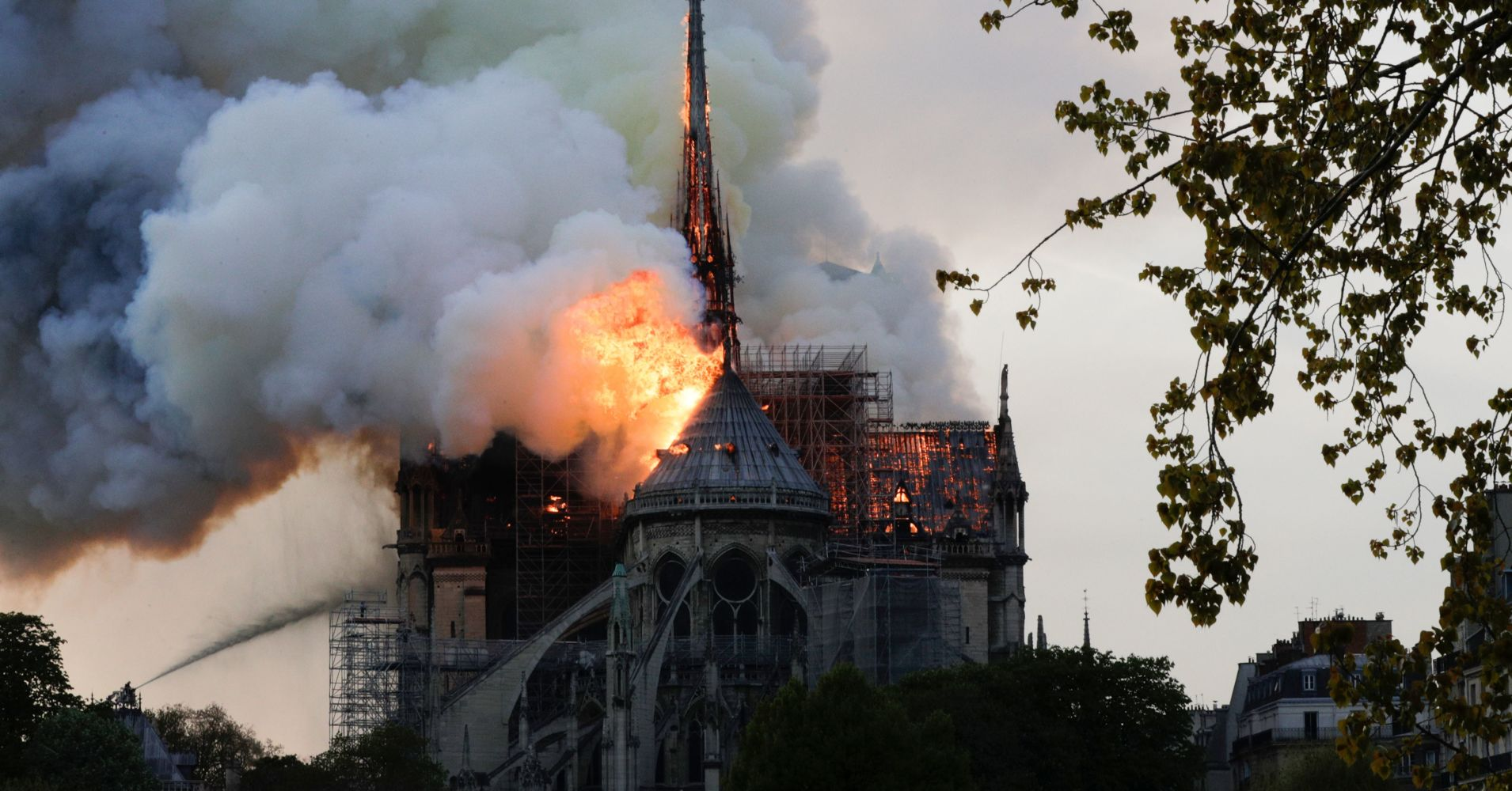 Notre-Dame in flames. Image: CNBC