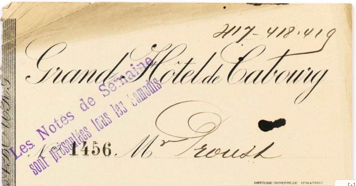 Note du Grand Hôtel de Cabourg pour la semaine du 19 au 25 août [1911]. Adjugée 9 000 euros, image ©Sotheby's