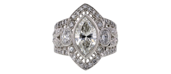 .98 ct Marquise cut solitaire ring Sold for $5,341