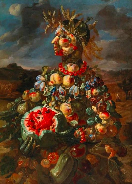 Giovanni Paolo Castelli, dit Lo Spadino Allégorie anthropomorphique de l'été
