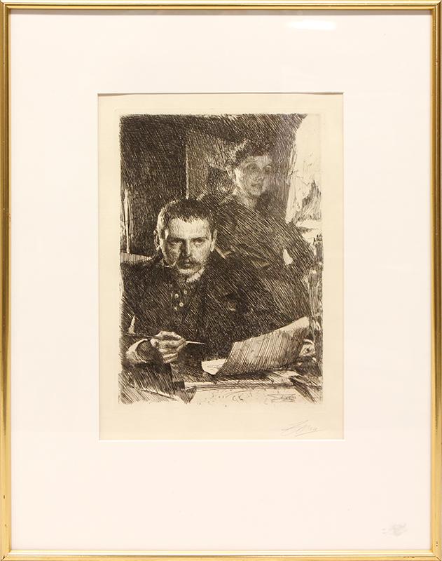 """ANDERS ZORN (1860-1920) """"Zorn och hans hustru Emma"""". Etsning, plåtstorlek 31,5 x 20 cm. Utförd 1890. Signerad i blyerts. Utrop: 20 000 SEK."""