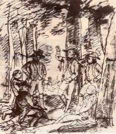 """""""Schiller liest die Räuber im Bopserwald"""", Skizze von Viktor Wilhelm Peter Heideloff, der gemeinsam mit Schiller die Karlsschule besuchte"""