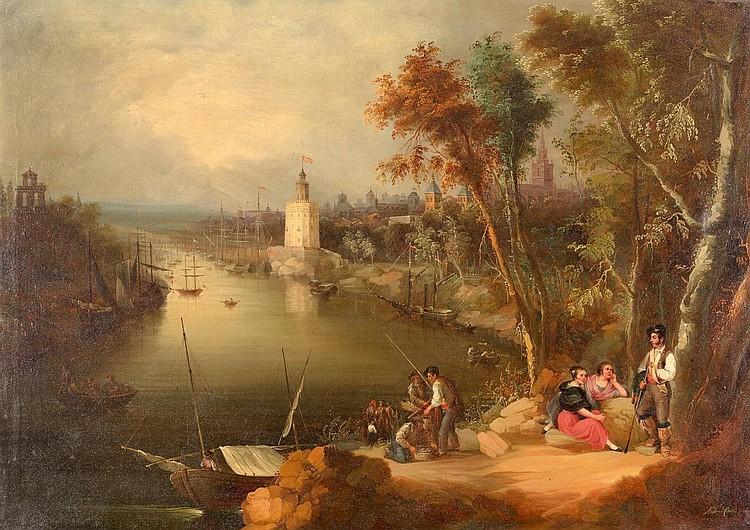 ANDRÉS CORTÉS Y AGUILAR. Vista de Sevilla desde el muelle de las Delicias y Prado de San Sebastián