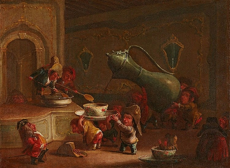 "Atribuido a FAUSTINO BOCCHI. ""Dwarves Drinking Coffee"""