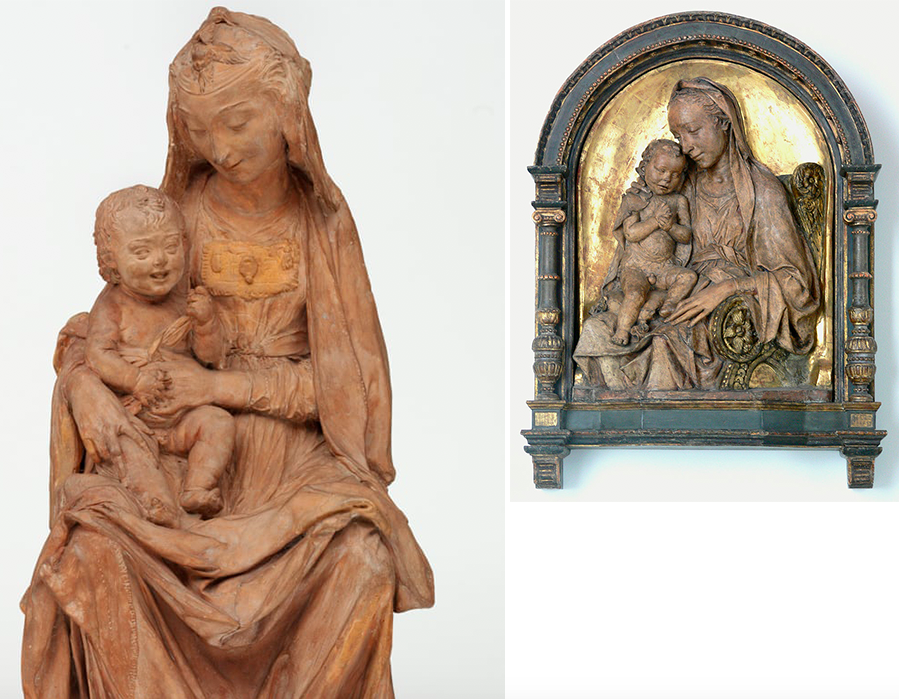 Left: 'Madonna with the laughing child', c. 1472. Photo: Victoria & Albert Museum, London via The Guardian. Right: Antonio Rossellino, 'Madonna and Child', c. 1475, Bode-Museum, Berlin