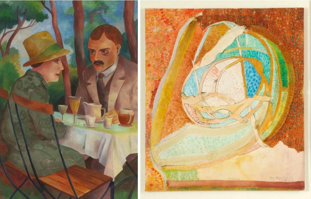Links: CHRISTIAN ARNOLD (1889 Fürth - 1960 Bremen) - 'Aus einem Biergarten', Aquarell/Papier, monogrammiert | Rechts: GERHARD ALTENBOURG (1926 Rödichen - 1989 Meißen) - 'Herr Beiß-Beiß mit Ruh in sich', Tusche/Karton, betitelt und signiert, 1976