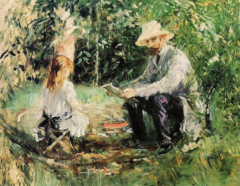 "Berthe Morisot, ""Eugène Manet et sa fille au jardin"", 1883."