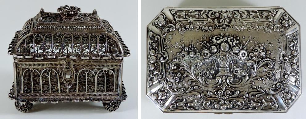 Links: Silberne Filigranschatulle, 8x7 cm, Russland, Meister Boris Tichonow 1826 Limitpreis: 600 EUR Rechts: Schatulle aus Silber mit Reliefdekor, friesische Art, 19x13,5x7,5 cm, um 1900 Limitpreis: 600 EUR