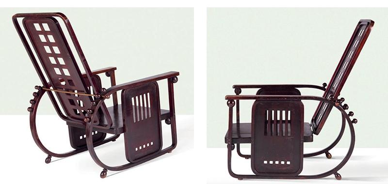 "JOSEF HOFFMANN - Sessel 670 ""Sitzmaschine"", Rotbuche, Messing, Jacob & Josef Kohn, ca. 1907   Für das zweite Exemplar bitte hier klicken"