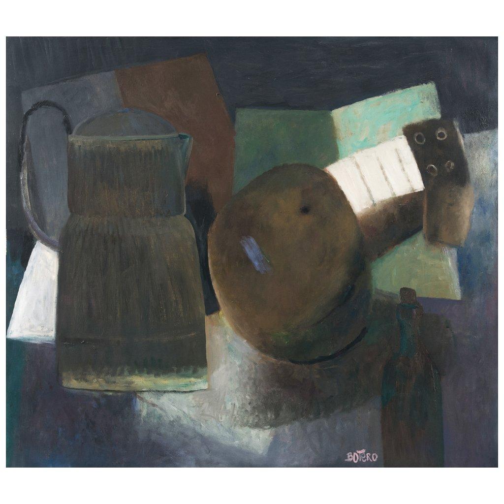FERNANDO BOTERO (*1932) - Bodegon con guitarra, Öl/Lwd., 137x156 cm, signiert, 1958 Startpreis: 4.700.000 MXN (ca. 217.123 EUR)