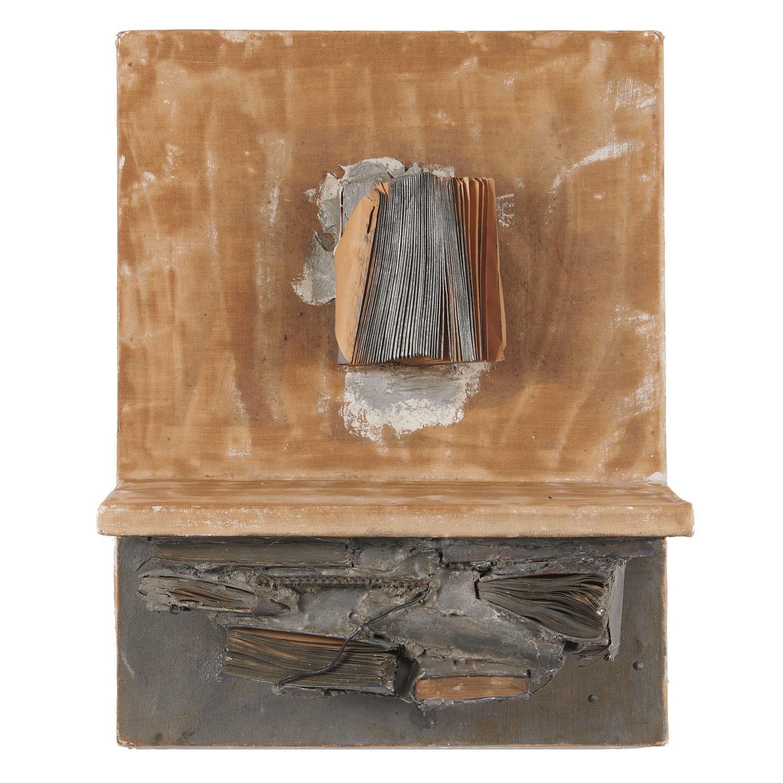 John Latham, Unaddressed Letters. 1961, books, plaster, oil paint on canvas laid on board.