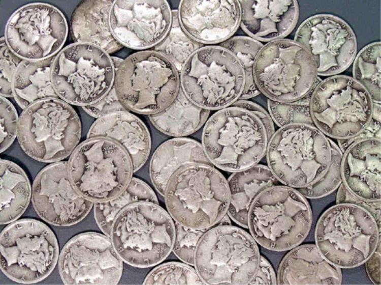 Lot 91S: Lot of 50 Mercury Dimes. Utrop: 80 sek. US Asset Forfeiture & Seizures Inc