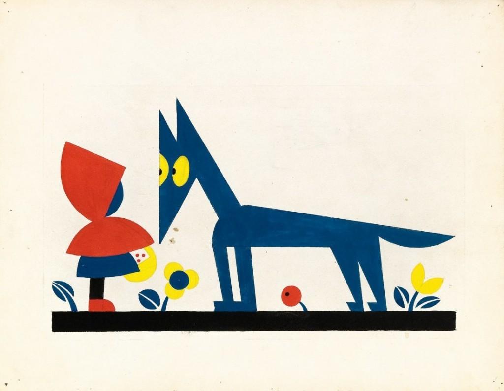 BRUNO ANGOLETTA - Cappuccetto e il Lupo, Bleistift und Tempera auf Zeichenpapier, 1920er Jahre Schätzpreis: 600-1.200 EUR