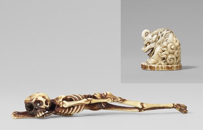 Highlights unter den Netsuke der Sammlung Papp am zweiten Auktionstag waren ein schlafendes Skelett sowie ein einhorniger Hakutaku aus dem 18. Jahrhundert.