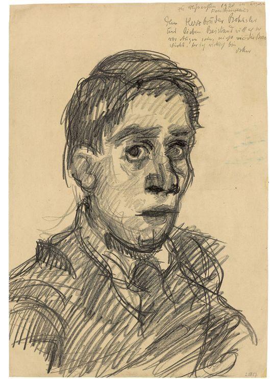 Oskar Kokoschka, 'Self-portrait', 1920, chalk and transfer paper. Photo: Grisebach