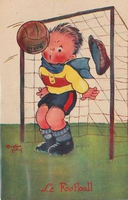 FOOTBALL - carte illustrée par Béatrice MALLET (publicité pour la Belle Jardinière) Clément Maréchal