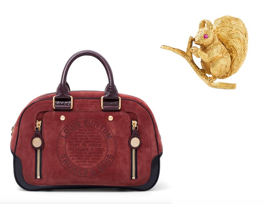 """Links: LOUIS VUITTON - Handtasche """"Havane"""", Herbst-Collection 2006 Rechts: HERMÈS - Rubin-Brosche, 1950er Jahre"""