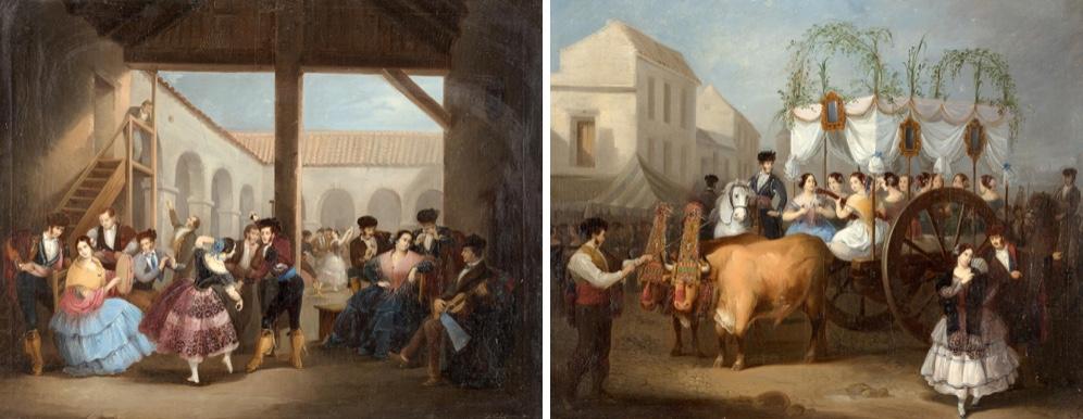MANUEL CABRAL AGUADO BEJARANO (1827 - 1891) - Fiesta en la venta y Romería, Öl/Lwd., 75 x 58 cm, signiert und datiert, 1871 Startpreis: 5.500 EUR